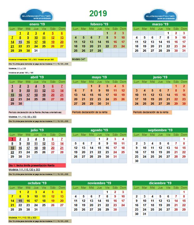 Calendario Fiscal.Calendario Fiscal 2019 Centro De Atencion Al Cliente